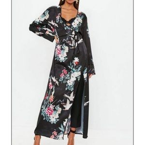NWOT Wrap floral maxi jacket